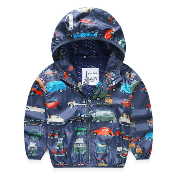 Children Jackets For Boys 2018 Spring Autumn Hooded Printed Car Baby Boys Outerwear & Coats 2-8 Years Kids Windbreaker Clothes