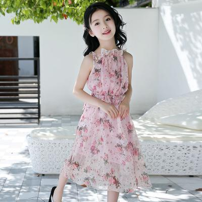 Children Summer Bohemia Long Floral Dress For Kids Pink Chiffon Print Beal Daily Deals For Moms