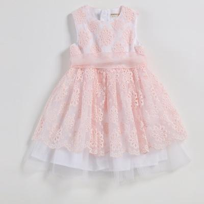 Children Summer New Ball Gown Pink Polyester Yarn Sleeveless Embroidered Cute 2018 Kids Lace Princess Dress For Baby Girls VH076