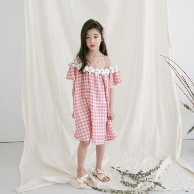Children Summer Plaid Dress Pink Cotton Short Sleeve Loose Casual Kids Slash Neck Lace Checkered Dresses For Big Girls FH786