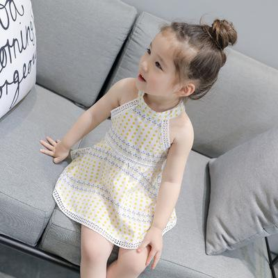 Children Summer Princess Dress White Cotton Dot Sleeveless Cute Empire  Casual Kids Print Mini Sling Dresses 7f4e967cc