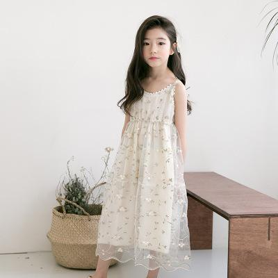 Children Summer Princess Dress White Cotton Embroidery Floral Empire Sleeveless Calf Length Kids Lace Dresses Big Girls FH787