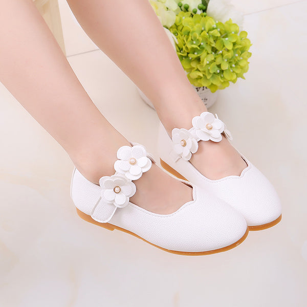 Children shoes PU Leather Flower Princess toddler Girls Shoes Kids Soft Single flats Dance Shoes