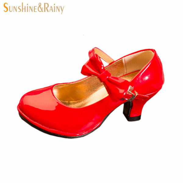 Classic Bow Girl PU Leather Shoes For Girls Party Dance Children Kids Shoes 2-14 Years Princess