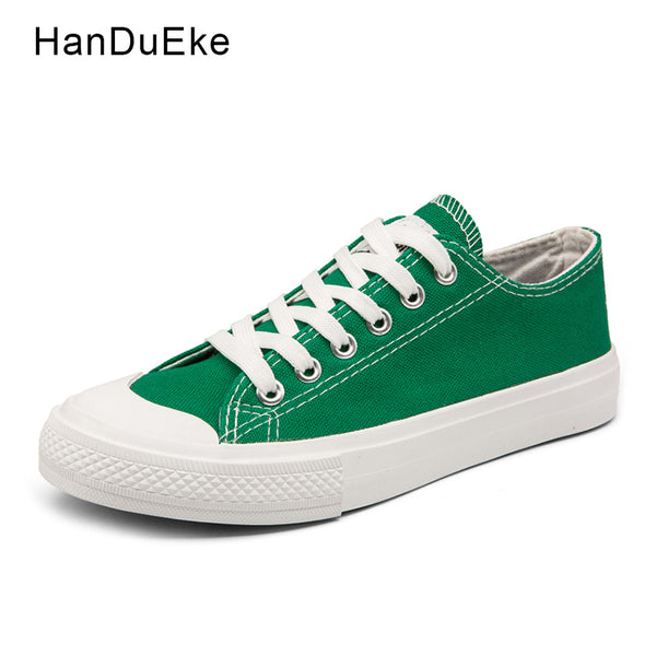 Classic Female Canvas Shoes Women Flats 2018 Spring Black White Green Yellow Casual Sneaker Round