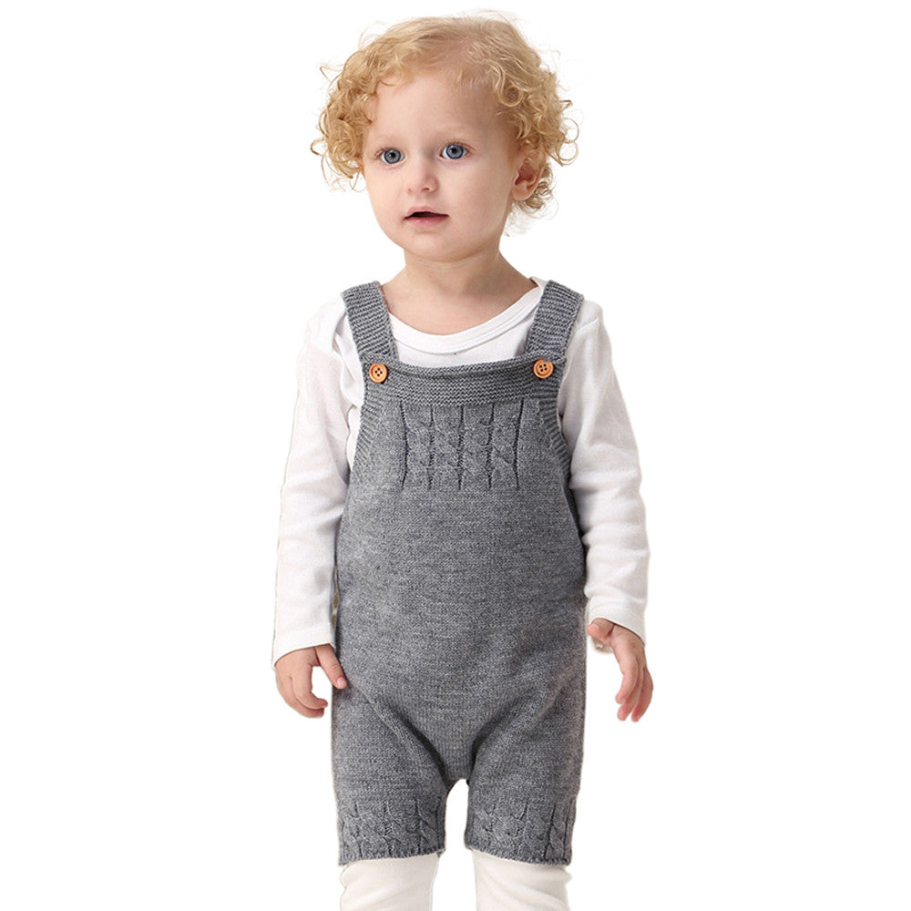 79bafa114fce Colors knitted Romper Toddler Newborn Baby Boys Girls Strap Buttons ...