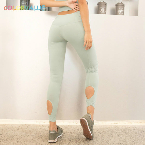 Colorvalue Calf Hollow Out Yoga Gym Pants Women Stunning Color Fitness Athletic Leggings Anti-sweat