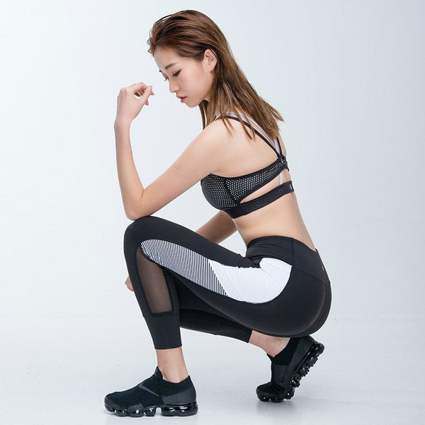Colorvalue Contrast Color Fitness Gym Leggings Women Mesh Pocket Running Sport Tights Skinny High