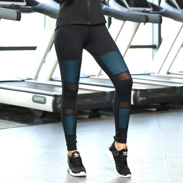 Colorvalue Contrast Color Running Gym Tights Women Quick Dry Training Yoga Leggings Mesh Patchwork