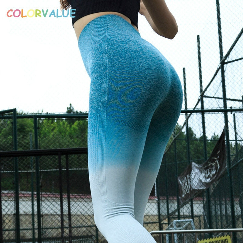 97d086f2b838f Colorvalue Ombre Seamless Gym Compression Tights Women Tummy Control  Fitness Workout Leggings Squatproof Hip Up Jogger Pants – Beal | Daily  Deals For Moms