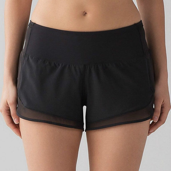Colorvalue Quick Dry Back Pocket Athletic Shorts Women Mesh Patchwork Fitness Gym Shorts Mid Waist