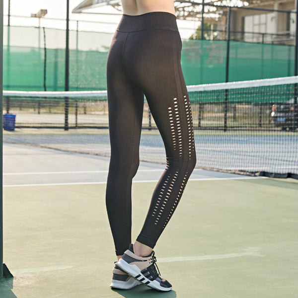 Colorvalue Side Hollow Out Sport Gym Tights Women Seamless Hip-up Fitness Athletic Leggings Elastic