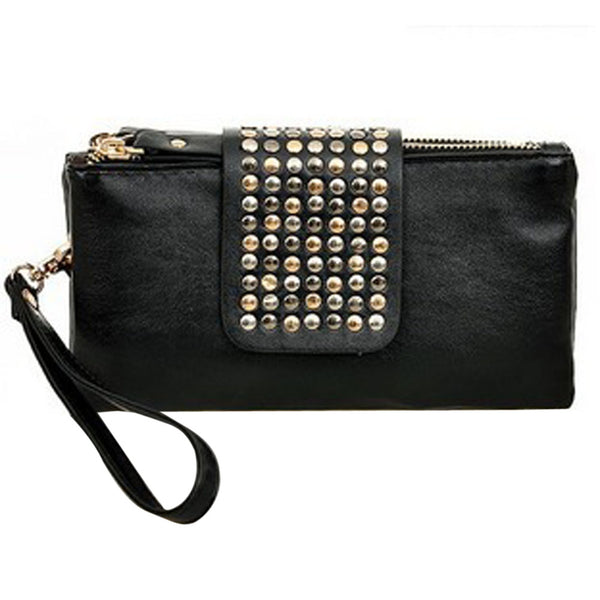 Cool Rivet Women Handbags Purses Leather Long Zipper Black Luxury Bags Clutches Wallets Bolsa Feminina Punk Style Clutch Purses