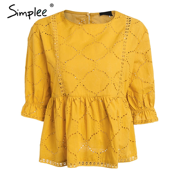 Cotton embroidery summer blouse women O neck hollow out sexy blusas peplum Ruffle half