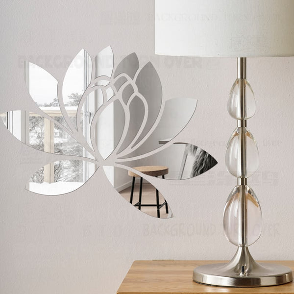 Creative Elegant Lotus 3D Decorative Acrylic Mirror Wall Stickers Flower Home Bedroom Decor Living Room Decoration Poster R063