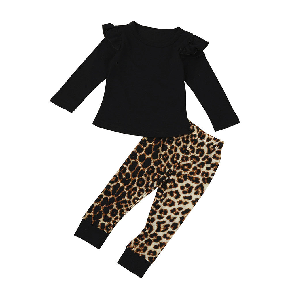 Cute Black Newborn Baby Girl Unisex Leopard Print O Neck Long Sleeve T Beal Daily Deals For Moms