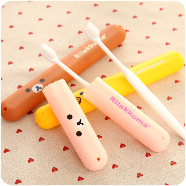 Cute Cartoon Children Toothbrush Box Bath Product Protect Toothbrush Case Holder Camping Portable