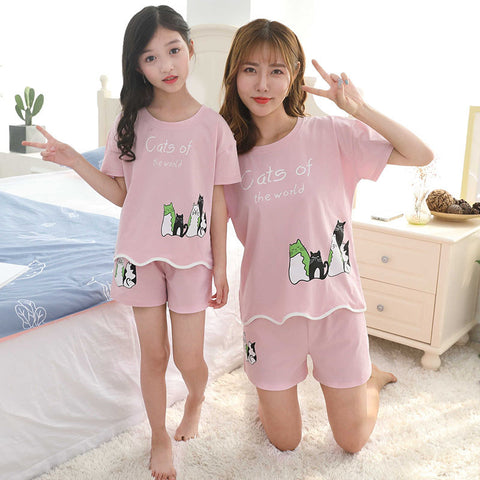 Cute Cat Print Pajamas Set For Girls Women Baby and Mom Mother Daughter Matching Clothing Set T Shirt+Shorts 2PCS Pajama Suit