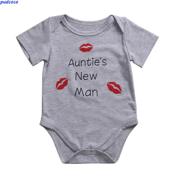 Cute Infant Baby Girl Boy Sunsuit Lovely Auntie's New Man Jumpsuit Outfit Romper Playsuit Best