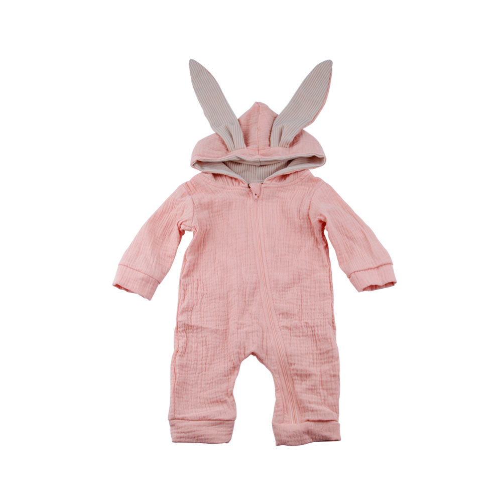 88a91de40a8e Cute Rabbit Ear Hooded Baby Romper Long Sleeve Infant Jumpsuit Baby ...
