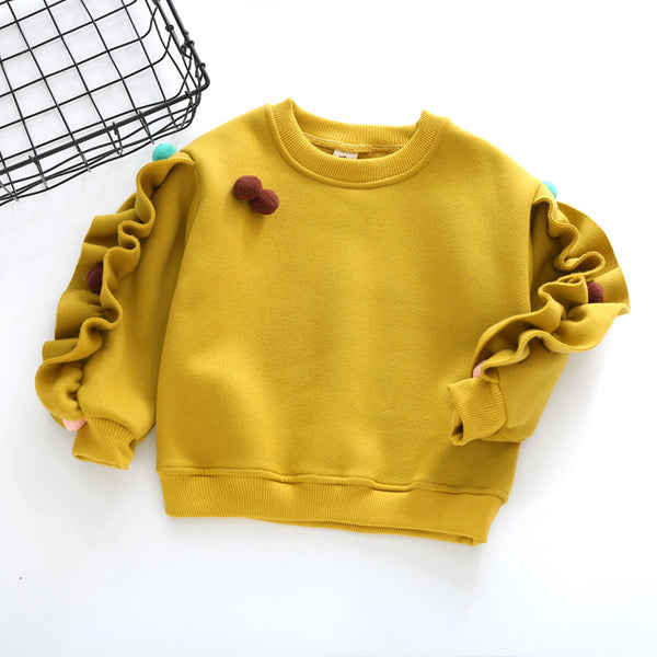 DFXD Children Winter Sweatshirt 2017 Baby Girls Casual Long Sleeve Soild Fleece Thicken Pullover