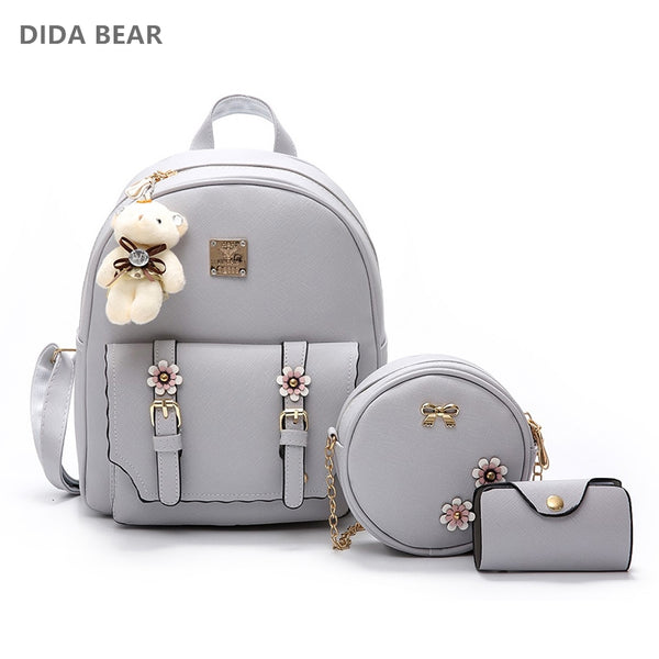 DIDA BEAR Fashion 4pcs Set Bag Women Leather Backpack Cute School Backpacks For Teenage Girls