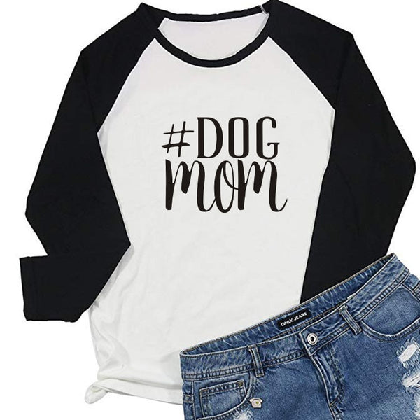 #DOG MOM Letter Printed Vintage Graphic Tees Women Long Sleeve Tops Streetwear Aesthetic Raglan