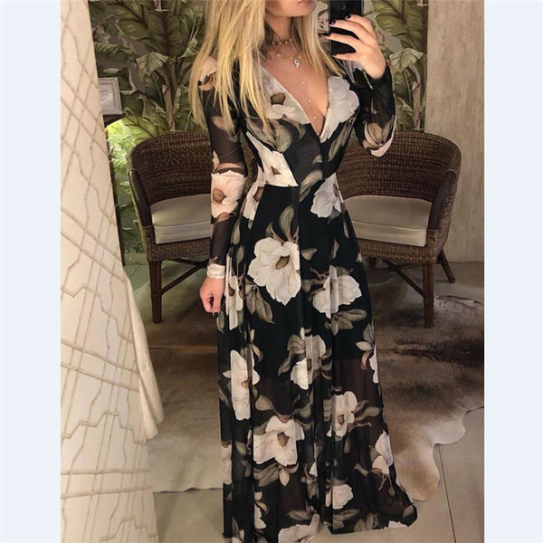 Designer Boho Maxi Dress Women's Elegant Beach Vacation Flower Printing Long Dress Bow Collar