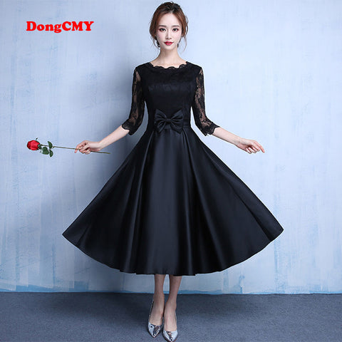 DongCMY 2018 Lace new fashion Black color plus size Robe De Roiree party short evening dress