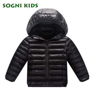 Down Coat for Baby Boys Girls Winter Jacket Brand Hooded Warm Puffer Coat Toddler Kids Outerwear solid color Boys Clothing