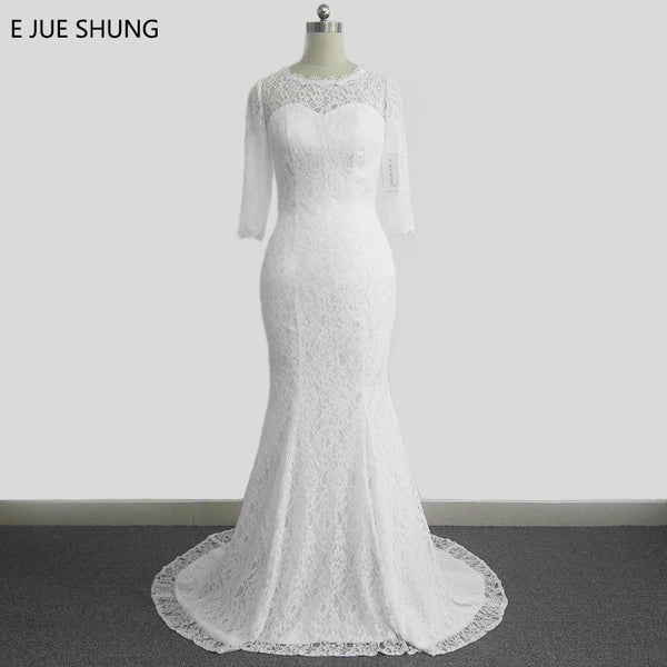 E JUE SHUNG White Vintage Lace Cheap Mermaid Wedding Dresses Off the ...