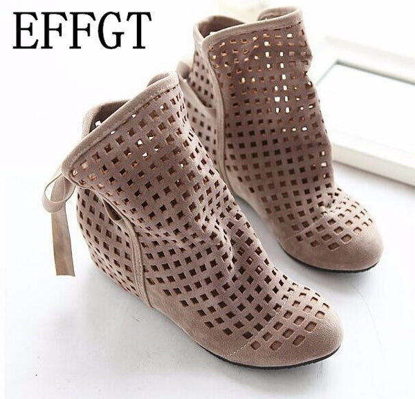 EFFGT 2017 New Women's Summer Boots Flat Low Hidden Wedges Cutout Ankle Boots Ladies Dress