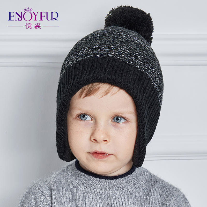 7b35f53767bad ENJOYFUR Winter baby Hats Real Fox Fur Pompom Knitted Boy Cap Mixed Color Woolen  Caps Children Thick Cotton Beanies 2017 Gorros – Beal | Daily Deals For ...