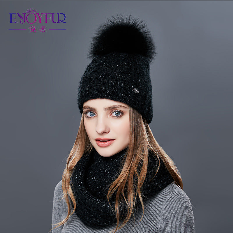 f05dbbdf886 ENJOYFUR Women Winter Hat And Scarf Set Warm Cashmere Knitted Hat Scarf For  Girls High Quality Fur Pompoms Hats Lady Beanies