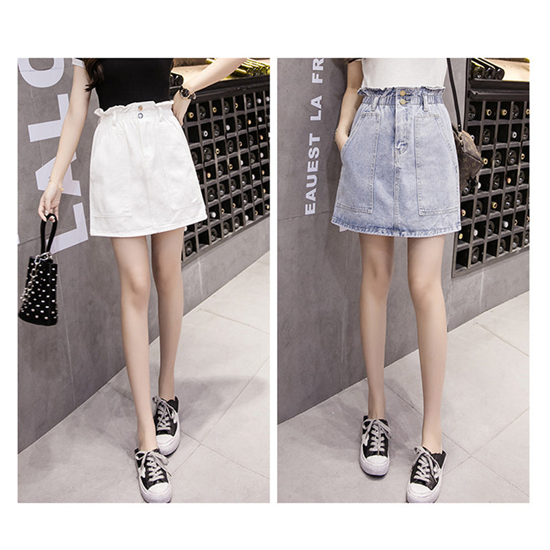 Skirts Women's Clothing Elastic Waist Summer Women Denim Skirt Pockets White High Waist Jeans Skirts