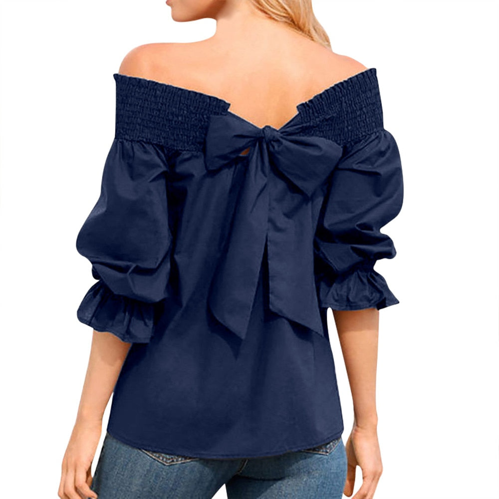 75e43535b27528 Elegant Blouse For Women Bow Tied Back Off Shoulder Shirts Summer Half  Sleeve Solid Casual Top Blusas Femininas  VE – Beal