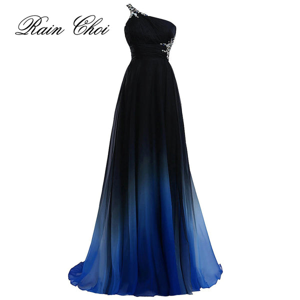 Elegant Evening Dress 2018 Purple Formal Prom Dresses Black Party Dress Blue Long Evening Gowns
