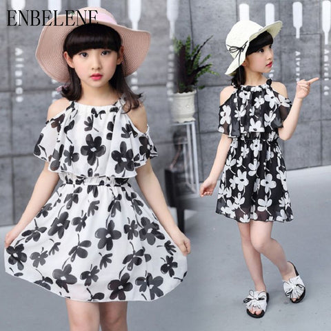 Elegant Girls Chiffon Dress for Kids Off-Shoulder Waisted Dresses Children Black White Flouncy Beach Dress Vestidos VH020