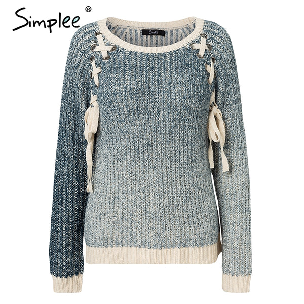 Elegant Gradient blue sweater Women O-neck lace up pullovers and sweaters 2018 Autumn