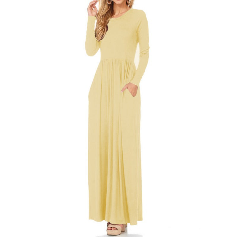 Elegant Long Maxi Dress Plus Size draped Women Dress Lady Pocket high waist  Casual O-Neck Long
