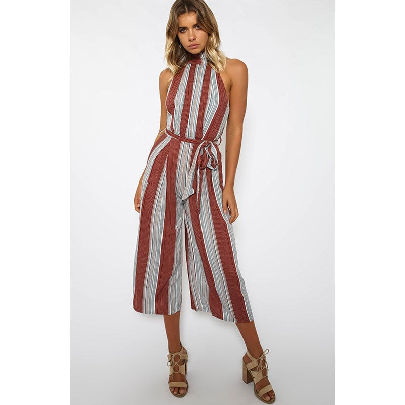 28c438526722 Elegant Striped Sexy Halter Rompers Women Jumpsuit Sleeveless ...