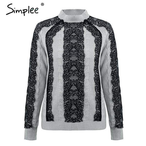 Elegant lace stitching women sweater and pullovers Long sleeve knitted jumpers 2018 Autumn
