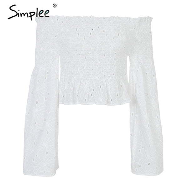Elegant off shoulder white blouse shirt women Cotton embroidery ruched summer blouse 2018