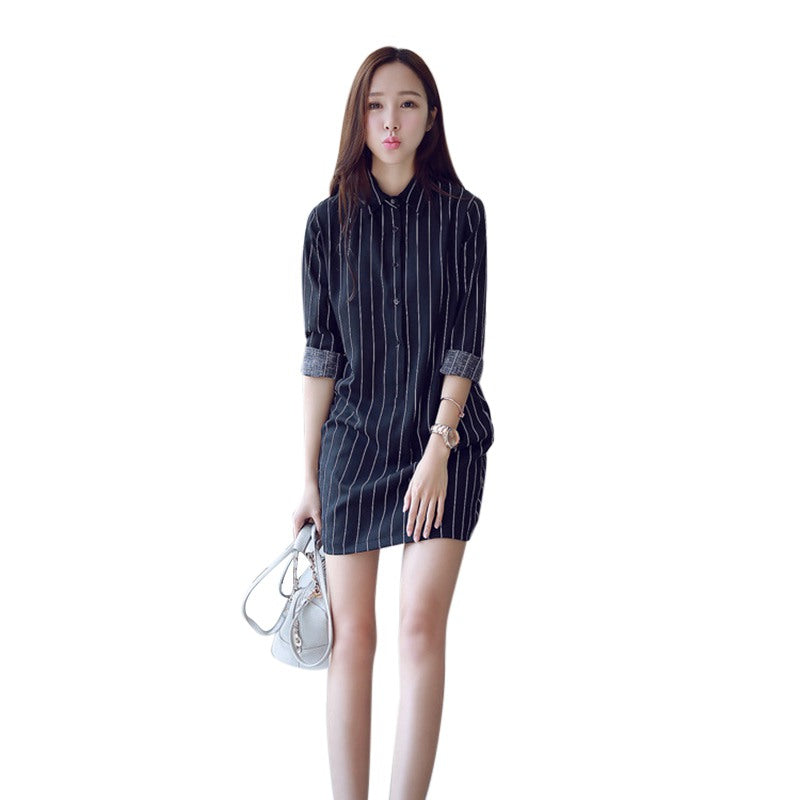 4a620f26398 Elegant stripes Dresses Women 2018 New Spring Summer Vertical striped Slim  Long sleeve Shirt Dress With Button – Beal