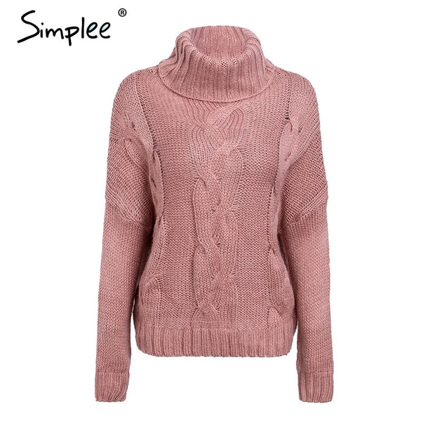 Elegant turtleneck winter knitted sweater Women drop sleeve loose pink pullover female Soft