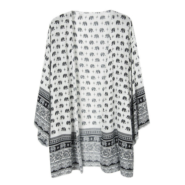 Elephant Print Long Blouses Tops Women Spring Summer Long Cardigan Sexy Full Sleeve Loose Beach Bikini Cover up Blusas A322
