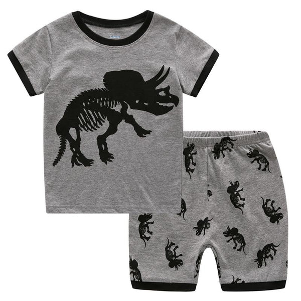 Euramerican Scared Dinosaur Skeleton Print, Boys  Sleepwear Set Children Terrified Dino Shirt