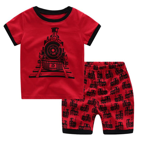 Euramerican Train Print Pyjamas Kids, Children Pajamas Summer Short Sleeve PJs Summer Clothing Set