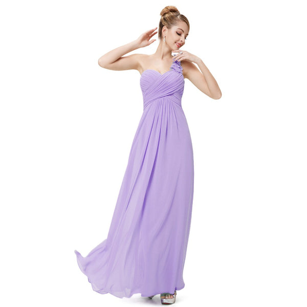 Evening Dresses Ever-Pretty EP09768 Flowers Long  Blue One Shoulder Padded big size women flower