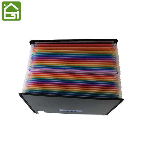 Expanding Files Folder with 24 Pockets Expandable Plastic Rainbow A4 Portable File Organizer